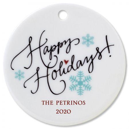 Happy Holidays Custom Christmas Ornament