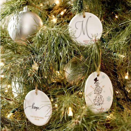 Initial Round Custom Christmas Ornament