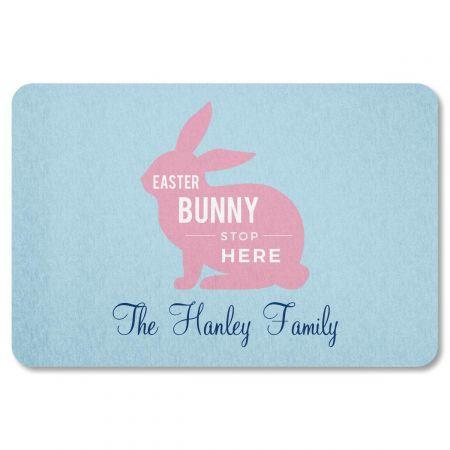 Custom Easter Bunny Stop Here Doormat
