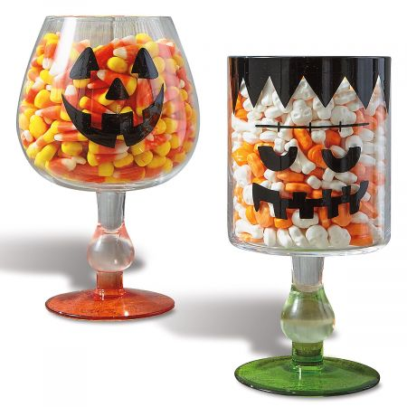 Spooky Faces Footed Candy Bowl