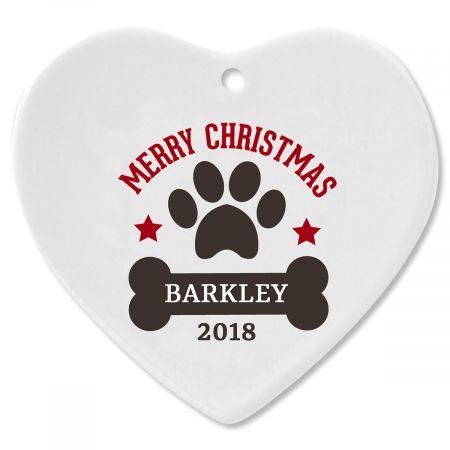 Custom Paw Print and Bone Heart Pet Christmas Ornament