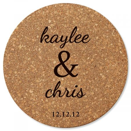 Couple's Custom Round Cork Trivet