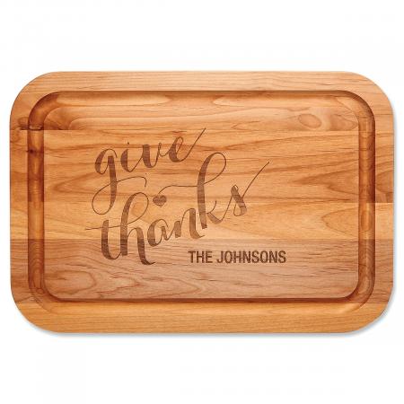 Give Thanks Custom Wood Cutting Board