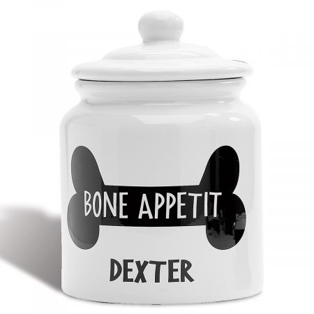 Swell Personalized Bone Appetit Dog Treat Jar Caraccident5 Cool Chair Designs And Ideas Caraccident5Info