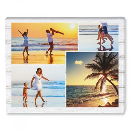 Light Wood Collage Custom Photo Canvas