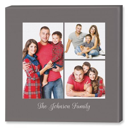 Family Name Grey Collage Custom Photo Canvas