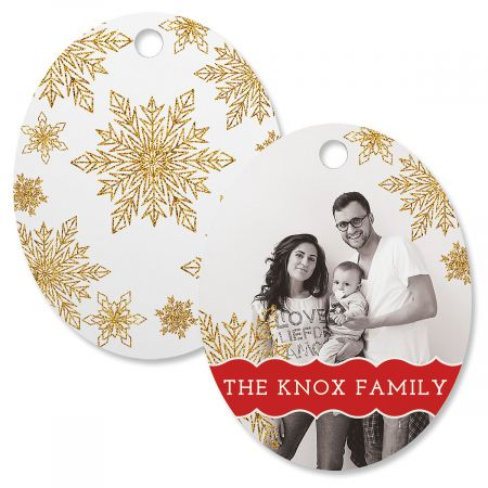 Glitter Snowflake Custom Photo Ornament – Oval