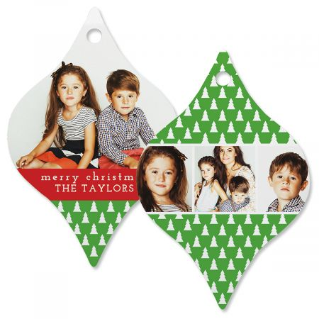 Green Tree Photo Ornament – Tapered