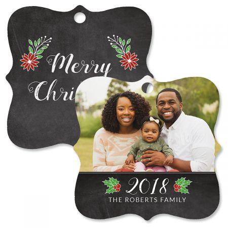 Merry Chalkboard Custom Photo Ornament – Square Bracket