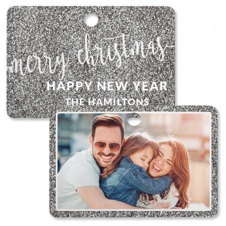 Silver Glitter Custom Photo Ornament – Rectangle