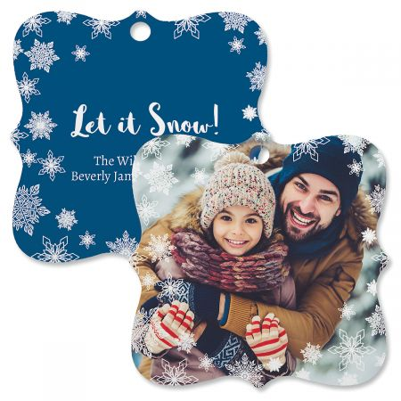 Let It Snow Custom Photo Ornament – Square Bracket