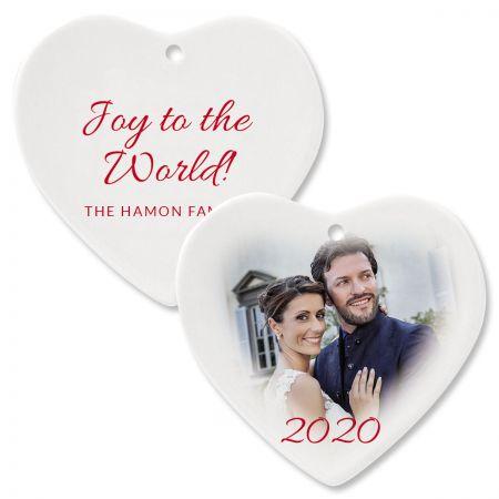 Joy Custom Photo Ornament – Heart