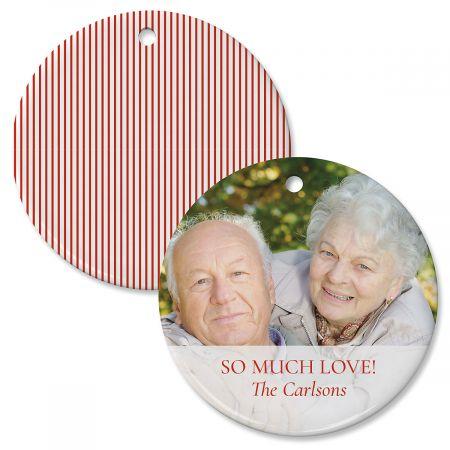 Red Stripe Custom Photo Ornament
