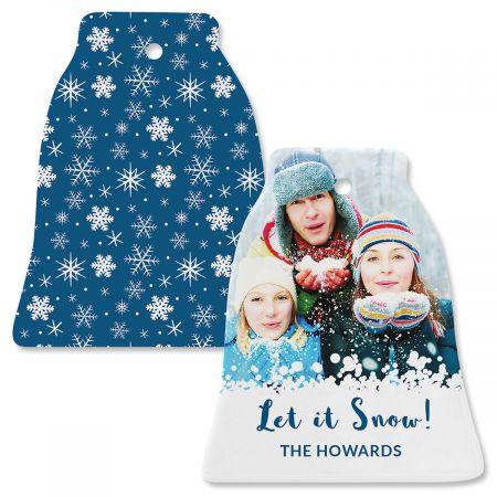 Blue Snow Photo Ornament – Bell