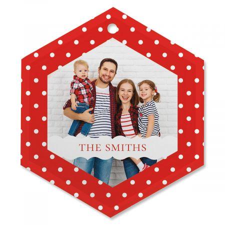 Polka Dot Custom Photo Ornament - Glass Hexagon