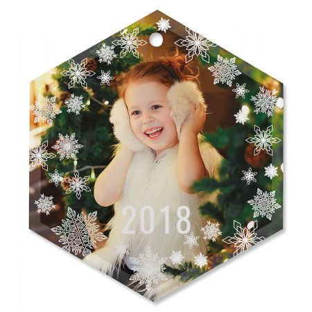 Snowflake Custom Photo Ornament - Glass Hexagon