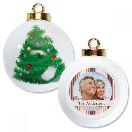 Stripe Custom Photo Ornament - Round Tree