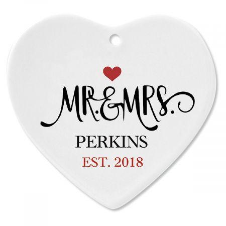 Mr. and Mrs. Established Custom Christmas Ornament