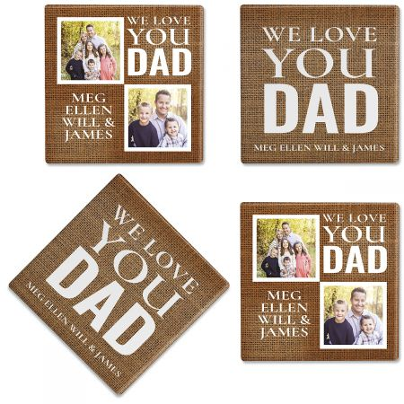 Burlap Custom Photo Coasters