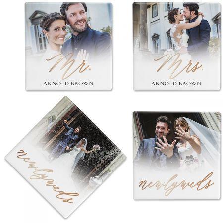 Newlyweds Custom Photo Coasters