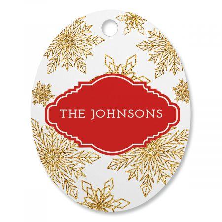 Glitter Snowflake Personalized Ornament Oval
