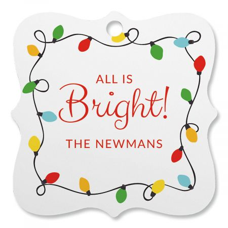 String Lights Personalized Ornament Square Bracket