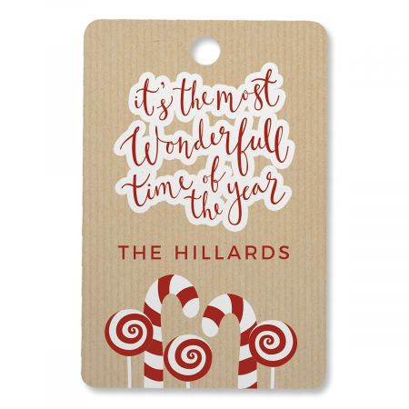 Candycane Personalized Ornament Rectangle