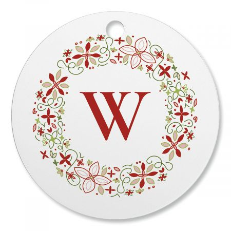 Wreath Initial Personalized Ornament Circle