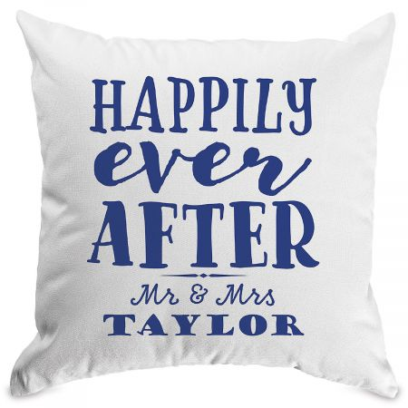 Happily Ever After Personalized Pillow White