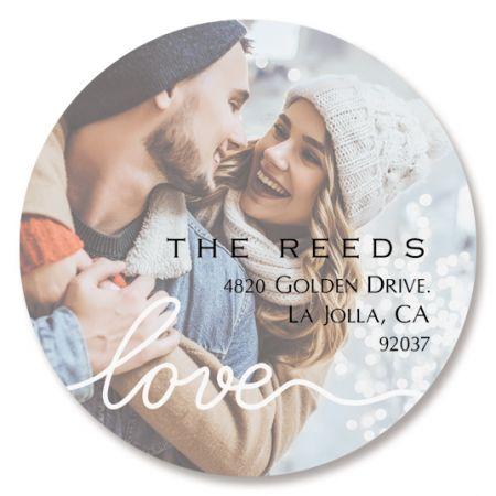 Love Round White Caption Photo Address Label