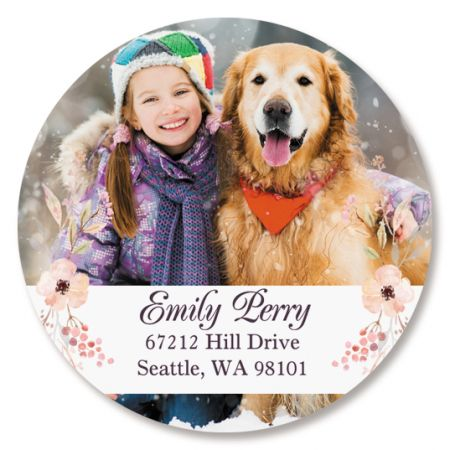 Personalized Floral Round Photo Address Label