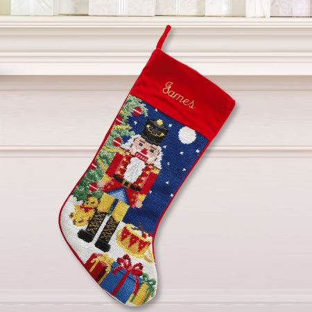 Nutcracker Heirloom Needlepoint Custom Christmas Stocking