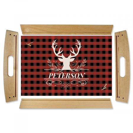 Custom Buffalo Plaid Natural Wood Serving Tray