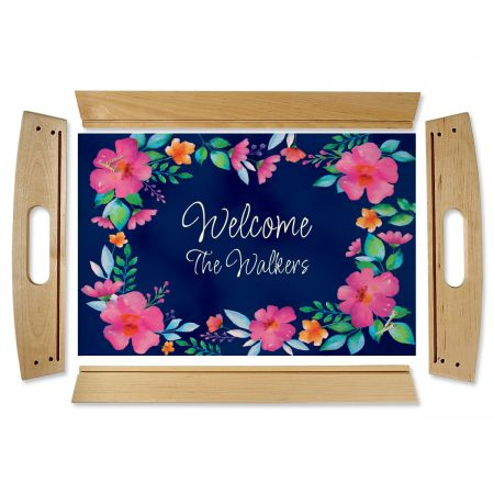 Custom Floral Family Name Natural Wood Serving Tray