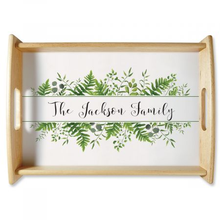 Custom Family Name & Greenery Natural Wood Serving Tray