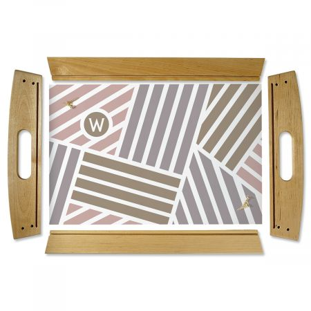 Custom Initialed Stripe Natural Wood Serving Tray