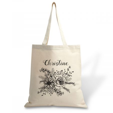 Custom Floral Name Canvas Tote