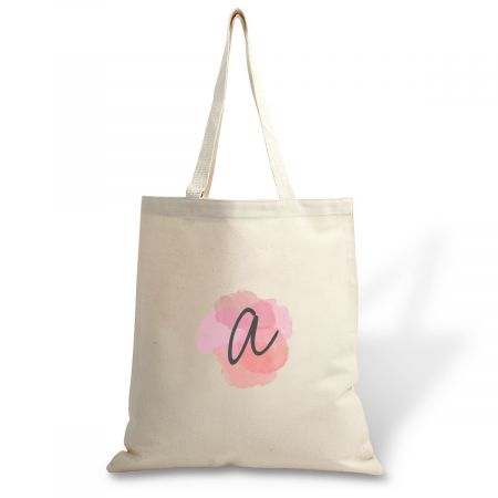 Custom Watercolor Initial Canvas Tote