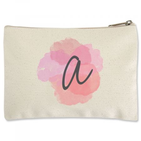 Custom Watercolor Initial Zippered Pouch