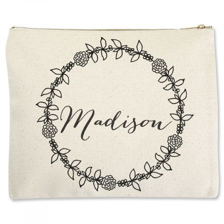 Custom Name in Wreath Zippered Pouch