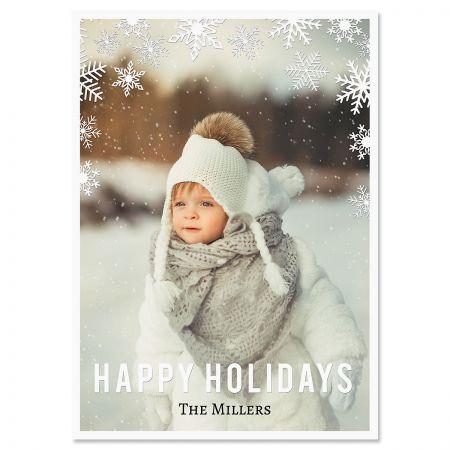 Snowflake Custom Photo Christmas Cards