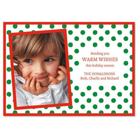 Green Polka Dot Custom Photo Christmas Cards