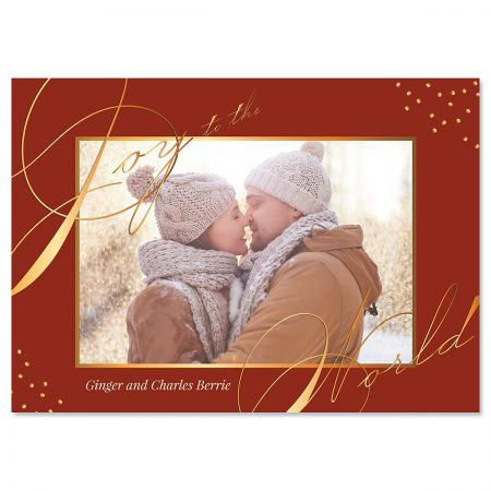 Red Joy Custom Photo Christmas Cards