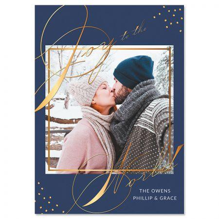 Blue Joy Custom Photo Christmas Cards