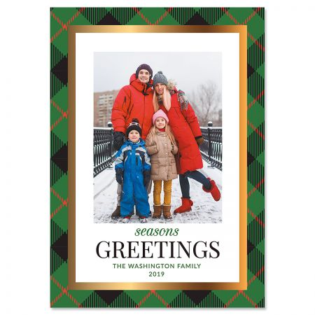 Green Buffalo Check Custom Photo Christmas Cards