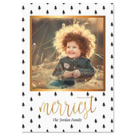 Black Trees Custom Photo Christmas Cards
