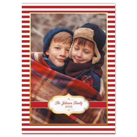 Red Stripes Custom Photo Christmas Cards