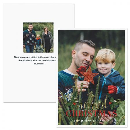 Merriest Holly Personalized Photo Christmas Cards