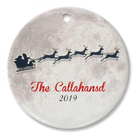 Round Personalized Santa Moon Ceramic Ornament