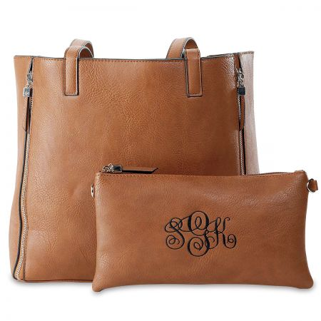 Custom Camel Carry-All Nora Tote Bag with Matching Crossbody Purse